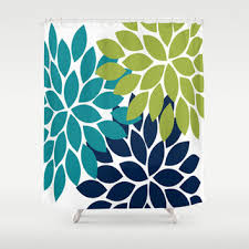 Navy And Green Curtains Best Dahlia Shower Curtain Products On Wanelo