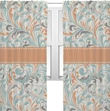 Orange And Blue Curtains Orange Blue Leafy Swirls Sheer Curtains Personalized