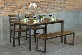 Dining Tables With Bench And Chairs Loft Indoor Modern Dining Set U2013 400 U2013 Elan Furniture