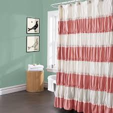 Lush Decor Ruffle Shower Curtain by Curtains Coral Fabric Shower Curtain Coral Print Shower Curtain
