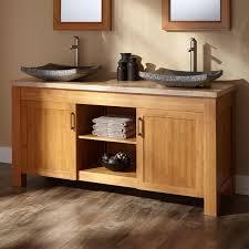 Bathroom Stone Double Sink Vanity Top In Brown Wood With Dark - Bathroom vanities double sink wood