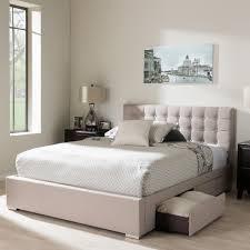 King Upholstered Bed Frame Baxton Studio Rene Beige King Upholstered Bed 28862 7063 Hd The