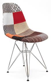 Replica Eames Dsr Eiffel Chair Multi Coloured Patches Chrome Legs