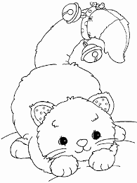 playful cat bells coloring simply cute coloring pages