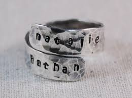 sterling silver mothers rings personalized ring sterling silver ring sted wrap