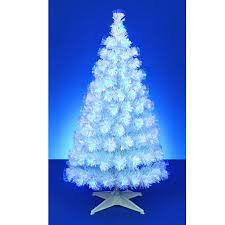 white tree with blue lights 4ft outdoor white silver