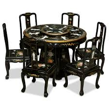 black lacquer dining room chairs black lacquer pearl figure motif round dining table with 6 chairs