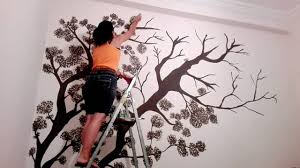 Tree Wall Murals Wall Drawing Tree Wall Mural Speed Drawing Youtube