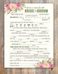 Wedding Mad Lib Template Spring Wedding Mad Libs Advice Card Printable Design By Jeneze