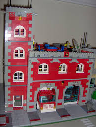 two bay tower fire house a lego creation by noel wood mocpages com