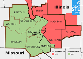 missouri map by population census estimates offer variety of narratives for st louis region