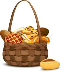bakery basket fresh bakery and bread in traditional handmade basket vector