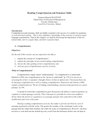 reading comprehension and summary skills pdf download available
