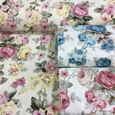 Rose Home Decor by Floral Canvas Duck Fabric Shabby Chic Roses Home Decor Curtain