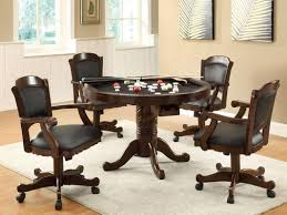 dinette table and chairs with casters amazon com three in one chestnut poker bumper pool dining set