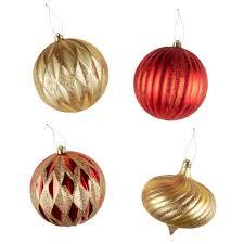 150mm gold finial textured shatterproof jumbo ornaments set