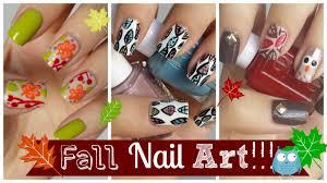 fall nail art three easy tutorials missjenfabulous youtube