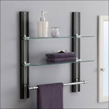 Glass Shelves For Bathroom Wall Shelf Bathroom Wall Shelf And Towel Bar With Bronze White In