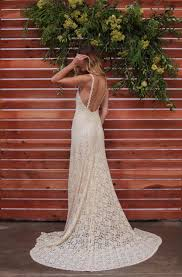 lace backless wedding dress plunge scallop front low back