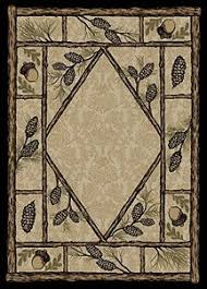 Lodge Style Area Rugs Dean Brasstown Bald Lodge Cabin Ranch Pine Cone Area Rug 5 3 X 7