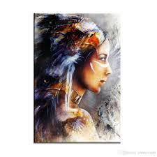 modern american indian woman painting prints non frame photo