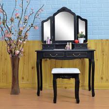 Vanity Folding Mirror Tri Folding Mirror Black Wood Vanity Set Makeup Table Dresser 4