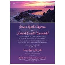 post wedding reception invitations pink purple rocky shore post wedding reception invitation