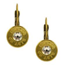 gun earrings black gun earrings brass lbg 45 leverback clr brs en
