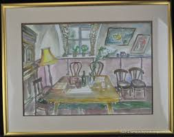 watercolor pink dining room table u0026 chairs buffet pencil sketching