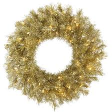 36 pre lit chagne gold and silver tinsel artificial