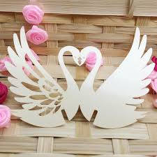 Wedding Gift Table Ideas Paper Ornament Swan Lovely Laser Cut Cup Card Wine Glass Party