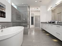 Modern Gray Tile Bathroom The Modern Design Of The Bathroom In Gray And White Colors