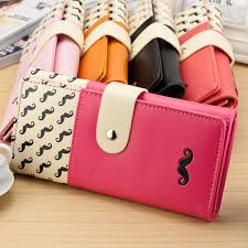 leather women s wallet pattern women smooth pu leather wallet cute mustaches pattern purse clutches