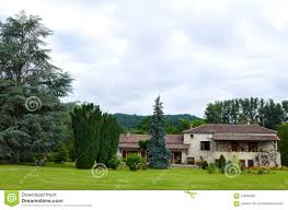 antique style french country house with grounds stock photo