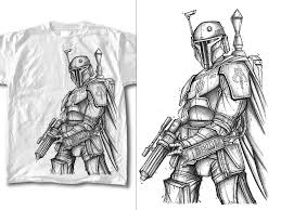 boba fett line art tshirt home of the combat unicorn