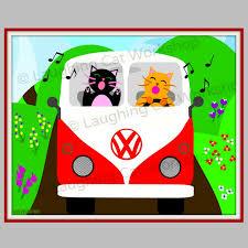 volkswagen bus clipart happy camper print cute kid wall art funny cat art volkswagon