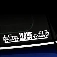 jeep wave sticker mirror jeep wave dammit vinyl decal