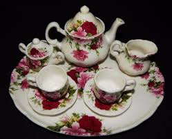 red rose florence collectables child miniature tea set tray bone