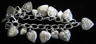 antique silver bracelet charms images Antique silver heart charm bracelet jpg