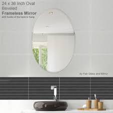 Frameless Bathroom Mirror 24 X 36 Inch Oval Beveled Polished Frameless Mirror