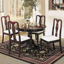 acme united queen anne contemporary 5pc dining set cherry finish