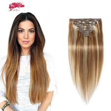 clip in human hair extensions clip in human hair extensions 7pcs per set color 8