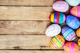 wooden easter eggs that open easter eggs on wooden background with space stock photo 511109078