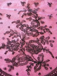 Beautiful Purple Motifs Beautiful Flounce 19th C French Black Chantilly Bobbin Lace