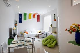 neutral white interior decorated with striking colorful