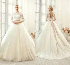 lace top wedding dress 2016 new sheer 3 4 sleeves a line wedding dresses lace top