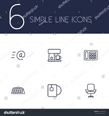 bureau simple set 6 bureau outline icons setcollection เวกเตอร สต อก 719064334