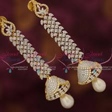 jhumka earrings online shopping j7590 cz two tone gold silver design jhumka earrings buy