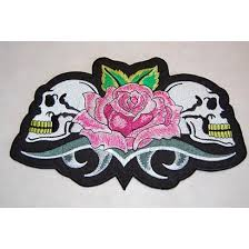 skull with roses patch badgeboy