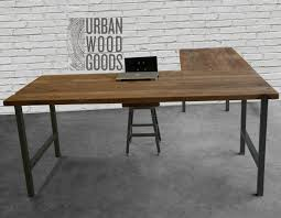 Simple L Shaped Desk Reclaimed Wood Office Furniture Modern Wood Desk Custom L